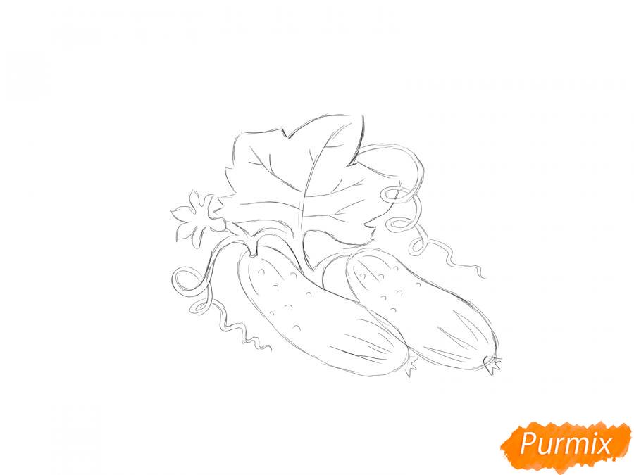 Рисуем огурцы на грядке - шаг 4