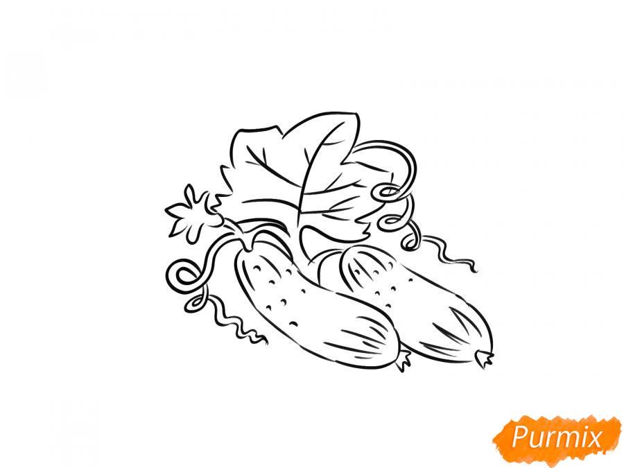 Рисуем огурцы на грядке - шаг 5