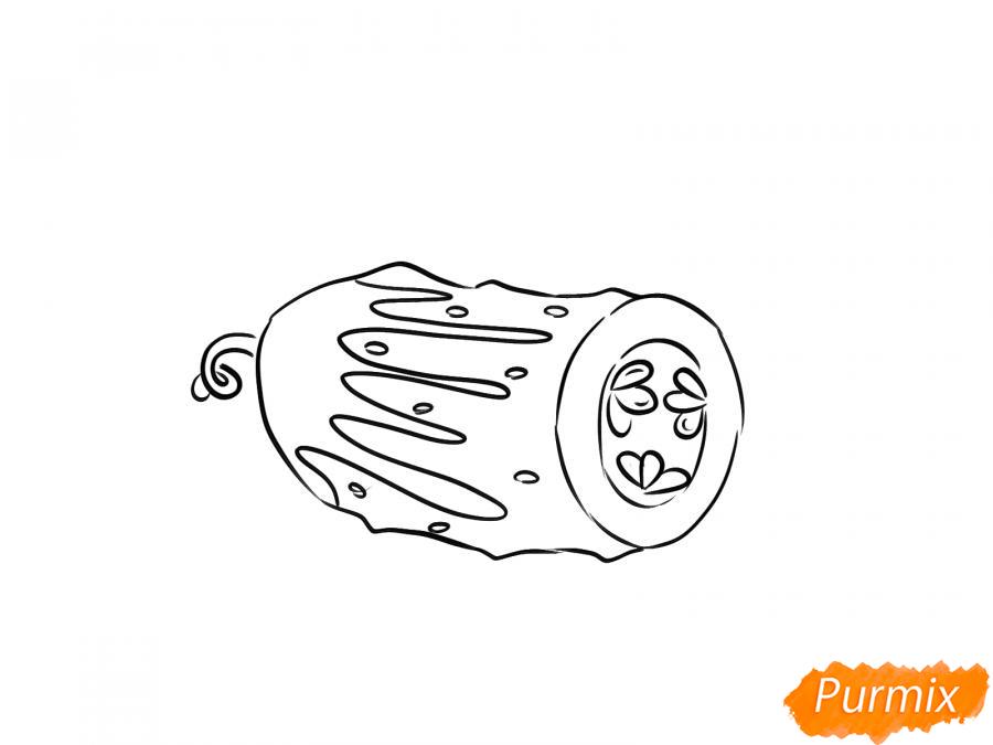 Рисуем огурец в разрезе - шаг 5