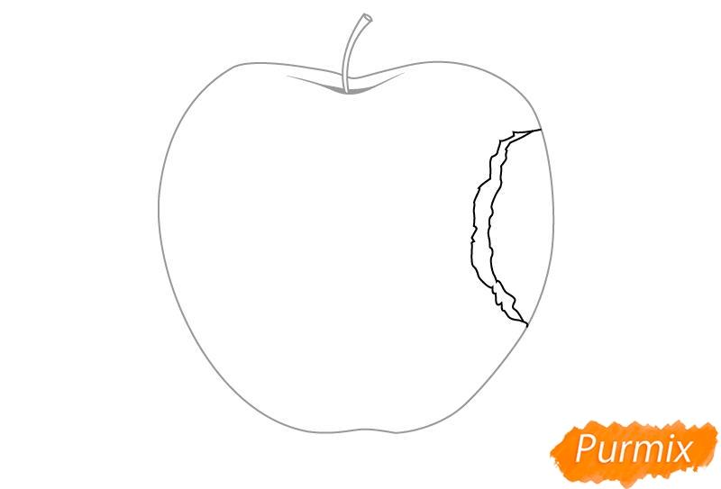 Рисуем откушенное яблоко - шаг 3
