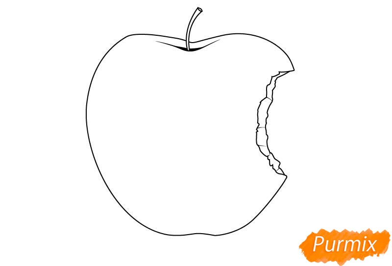 Рисуем откушенное яблоко - шаг 4