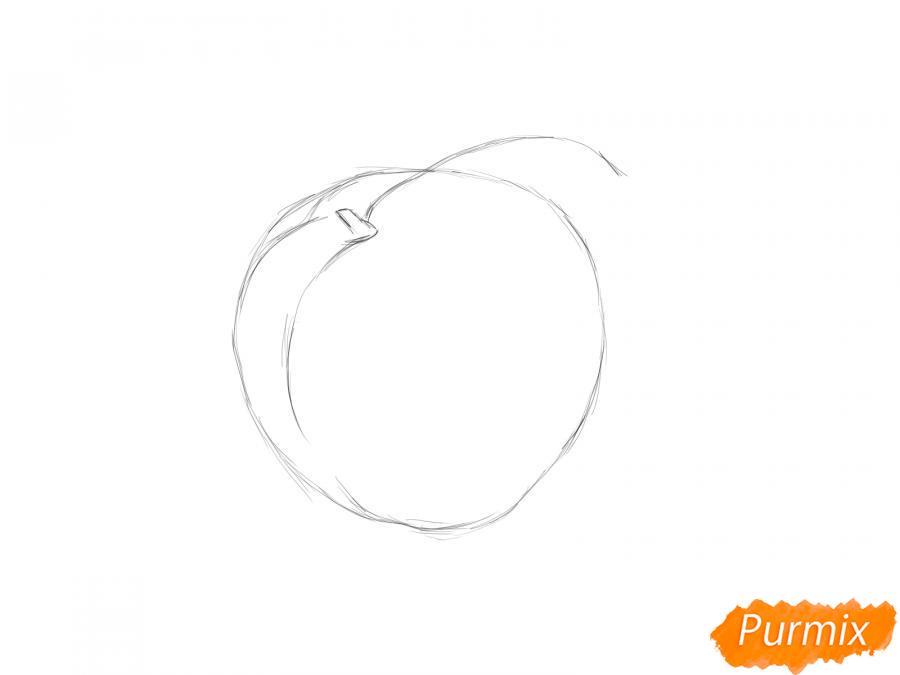 Рисуем персик  или гуашью - шаг 2