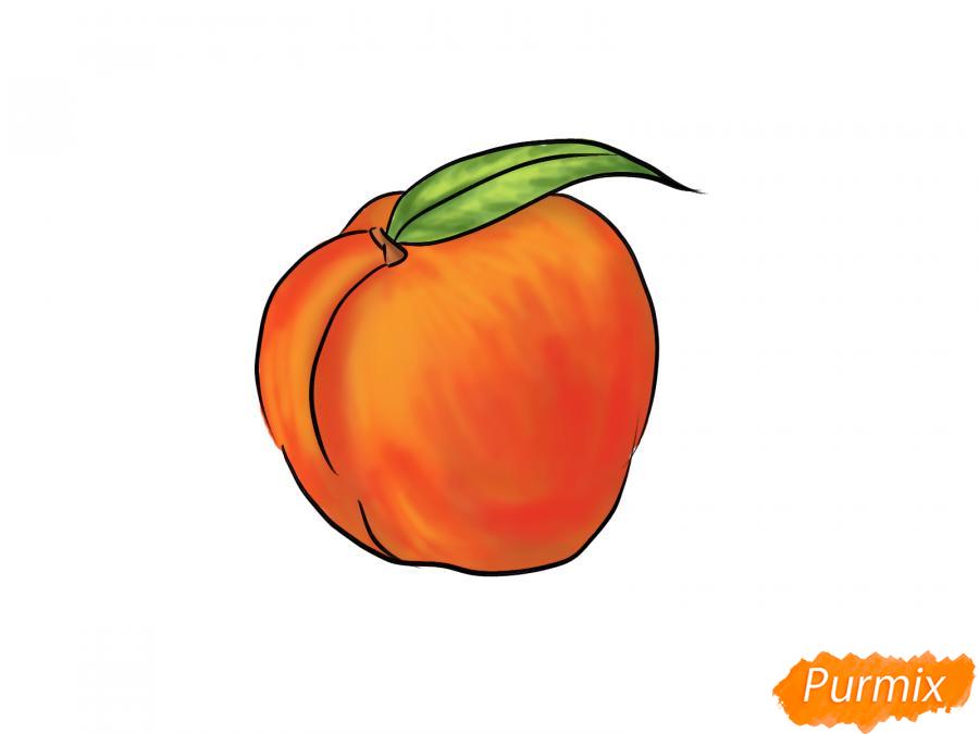 Рисуем персик  или гуашью - шаг 7