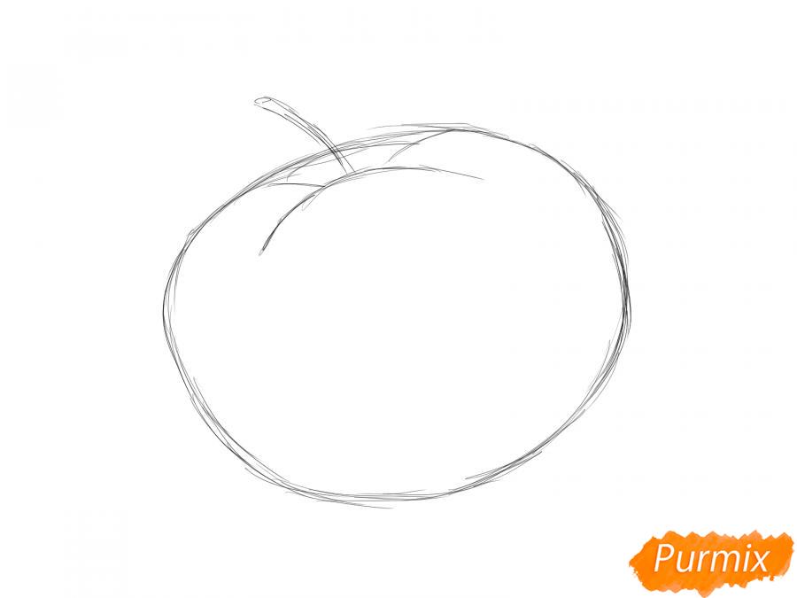 Рисуем помидор с глазками - шаг 2