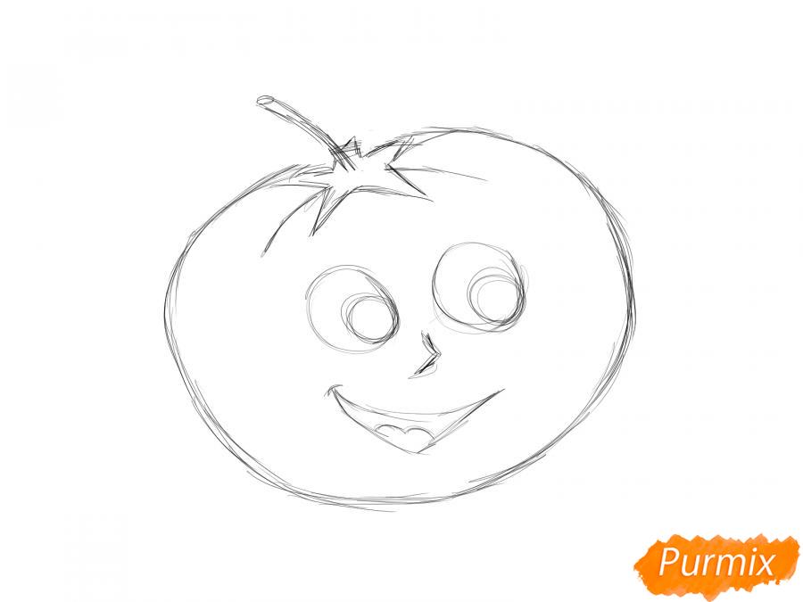 Рисуем помидор с глазками - шаг 4