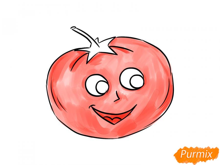 Рисуем помидор с глазками - шаг 6