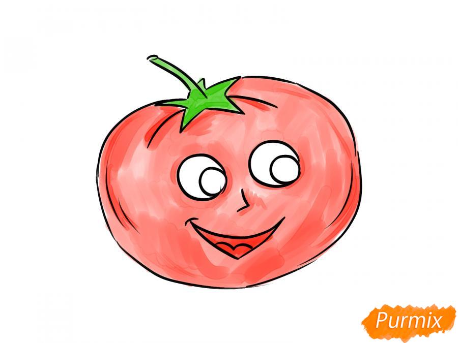 Рисуем помидор с глазками - шаг 7