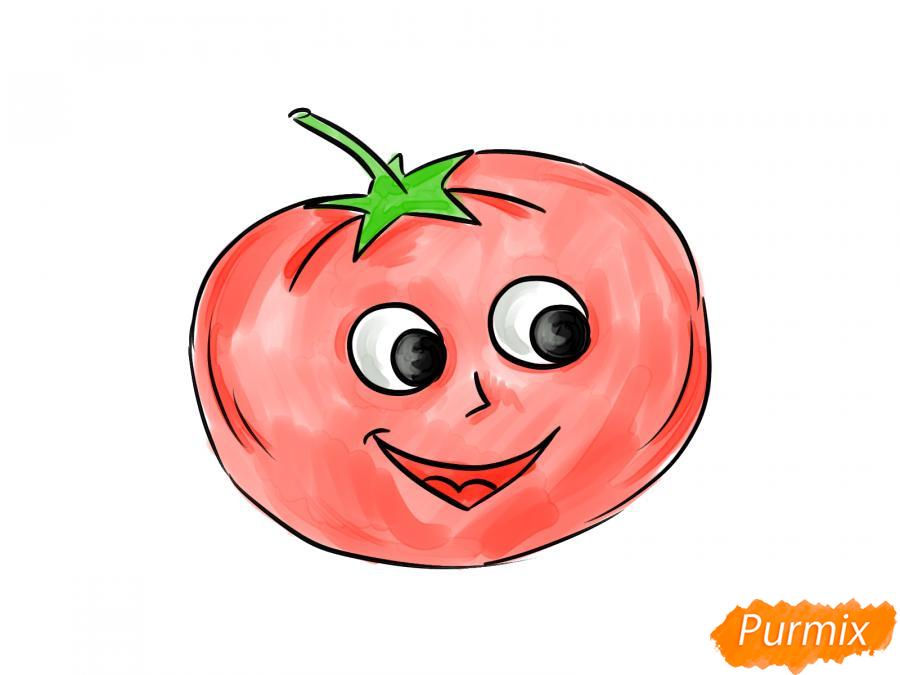 Рисуем помидор с глазками - шаг 8