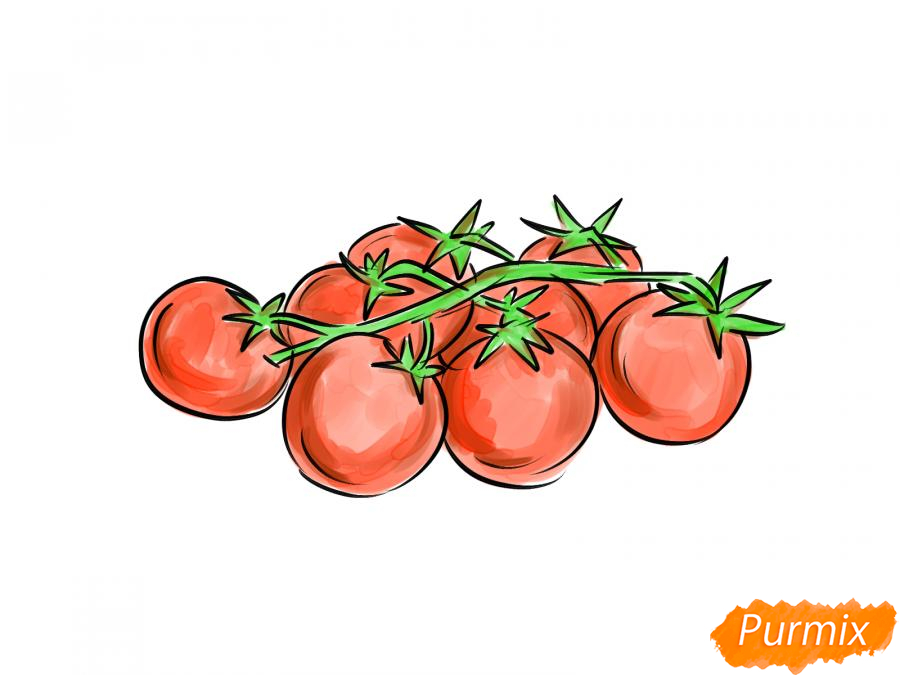 Рисуем помидоры черри - шаг 7