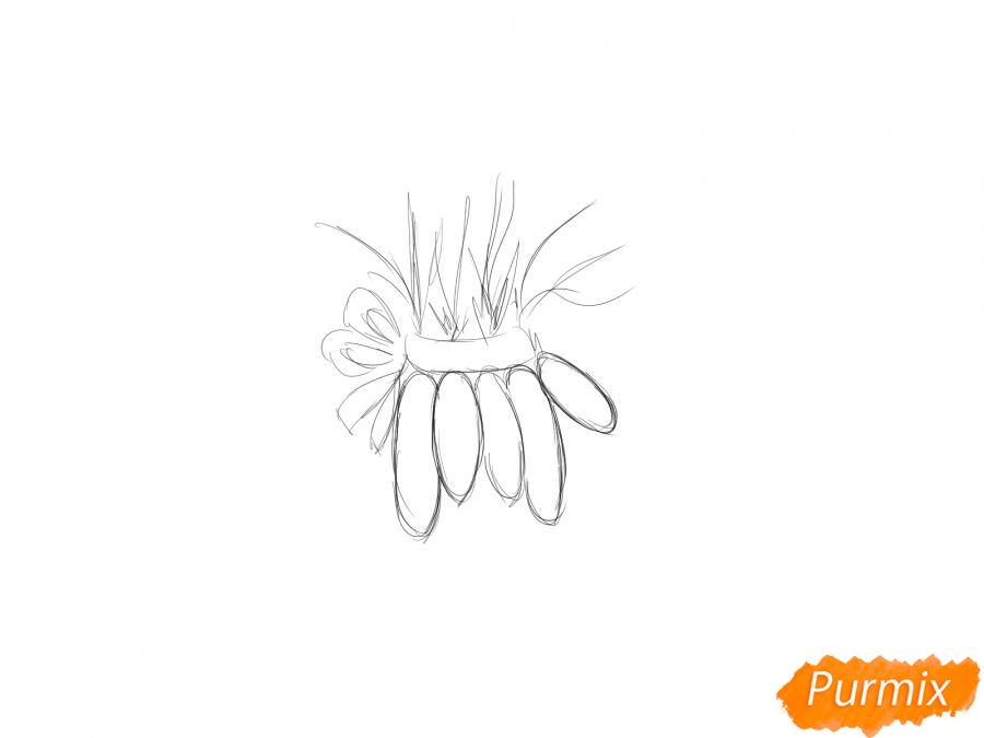 Рисуем пучок моркови - шаг 2
