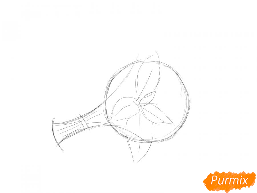 Рисуем пучок мяты - шаг 3