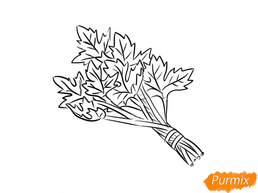 Рисуем пучок петрушки - шаг 6