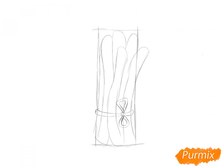 Рисуем пучок спаржи - шаг 3