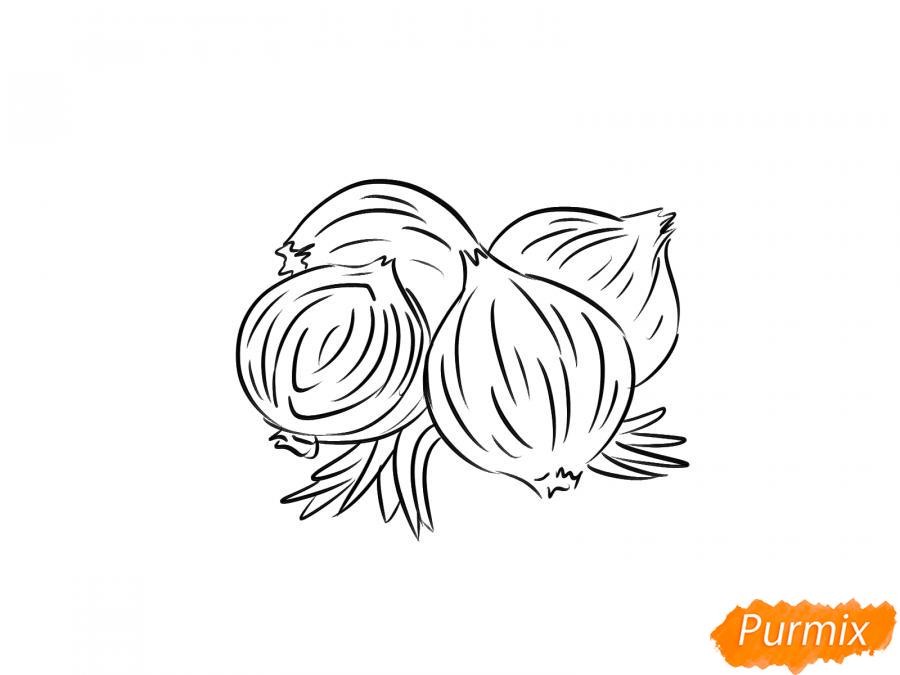 Рисуем репчатый лук - шаг 4
