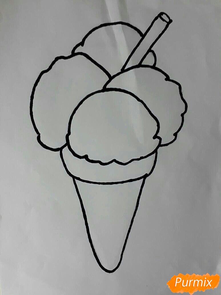 Рисуем рожок с разноцветными шариками - шаг 3