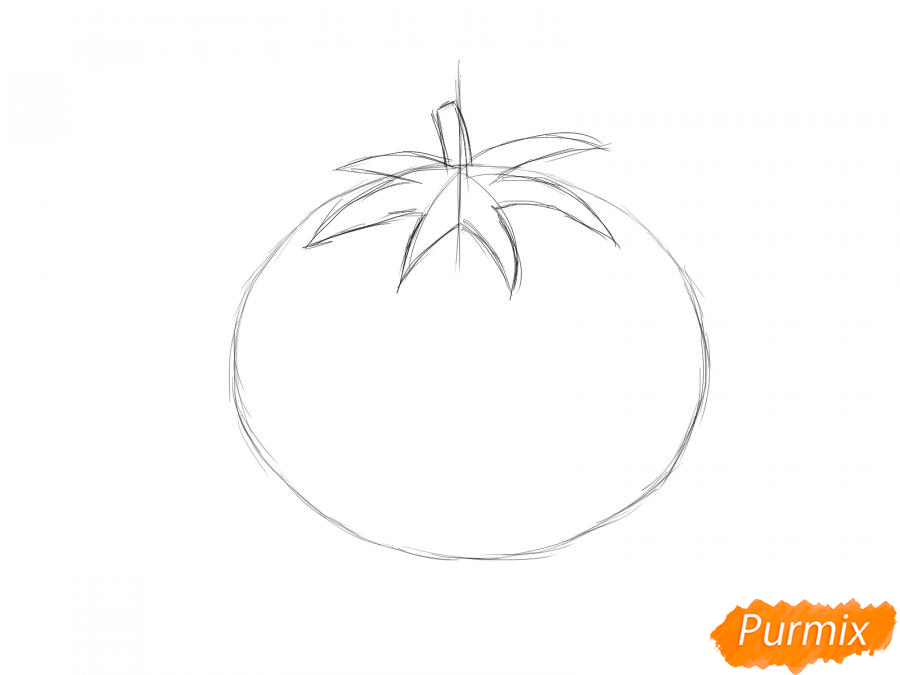 Рисуем спелый помидор - шаг 3