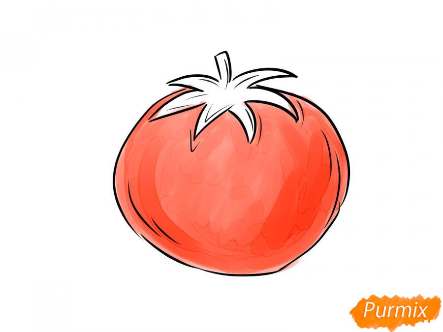 Рисуем спелый помидор - шаг 6