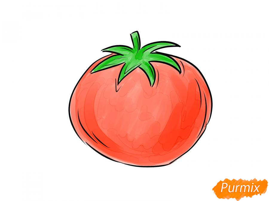 Рисуем спелый помидор - шаг 7
