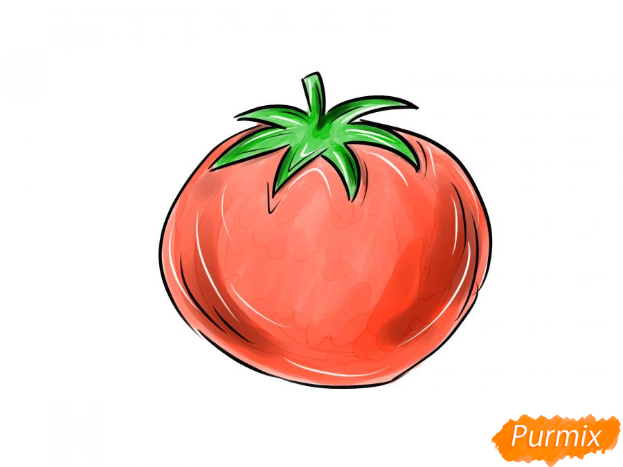 Рисуем спелый помидор - шаг 8