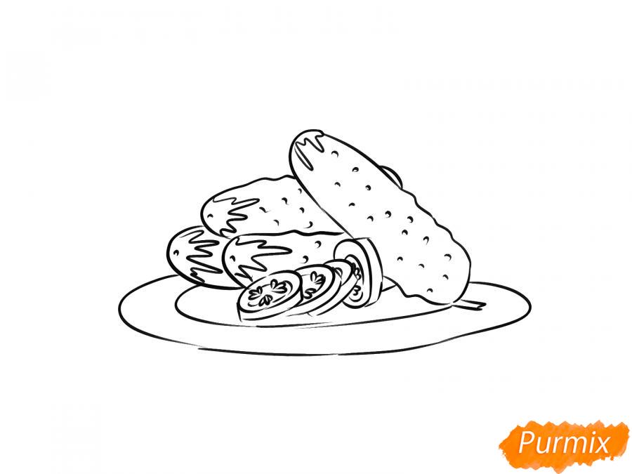 Рисуем тарелку с огурцами - шаг 6