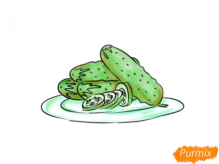 Рисуем тарелку с огурцами - шаг 9