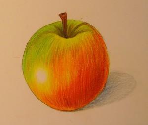 Рисуем яблоко цветными карандашами - шаг 10