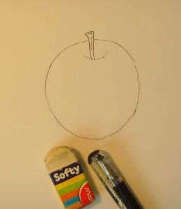 Рисуем яблоко цветными карандашами - шаг 3