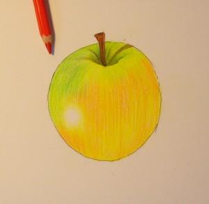 Рисуем яблоко цветными карандашами - шаг 7