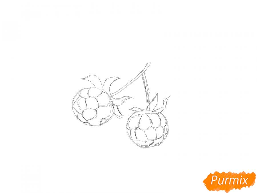 Рисуем ягоду морошку карандашами - шаг 4