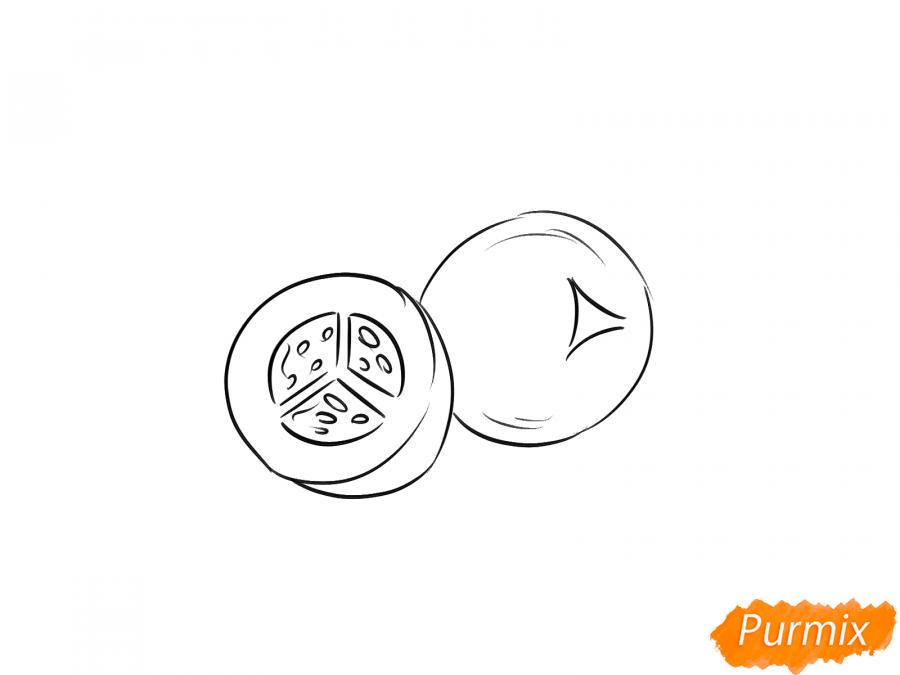Рисуем ягоду можжевельника в разрезе - шаг 5