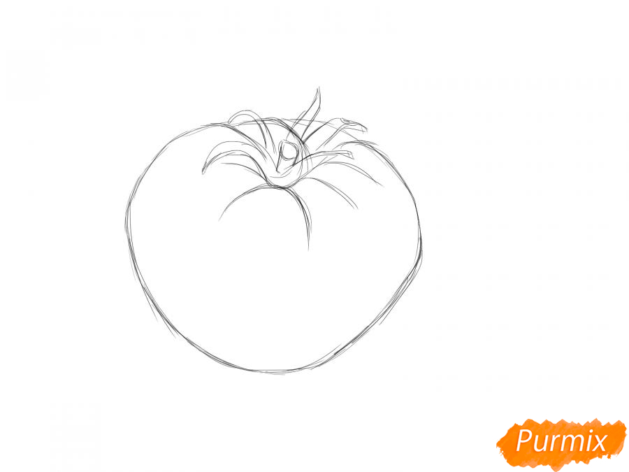 Рисуем желтый помидор - шаг 3