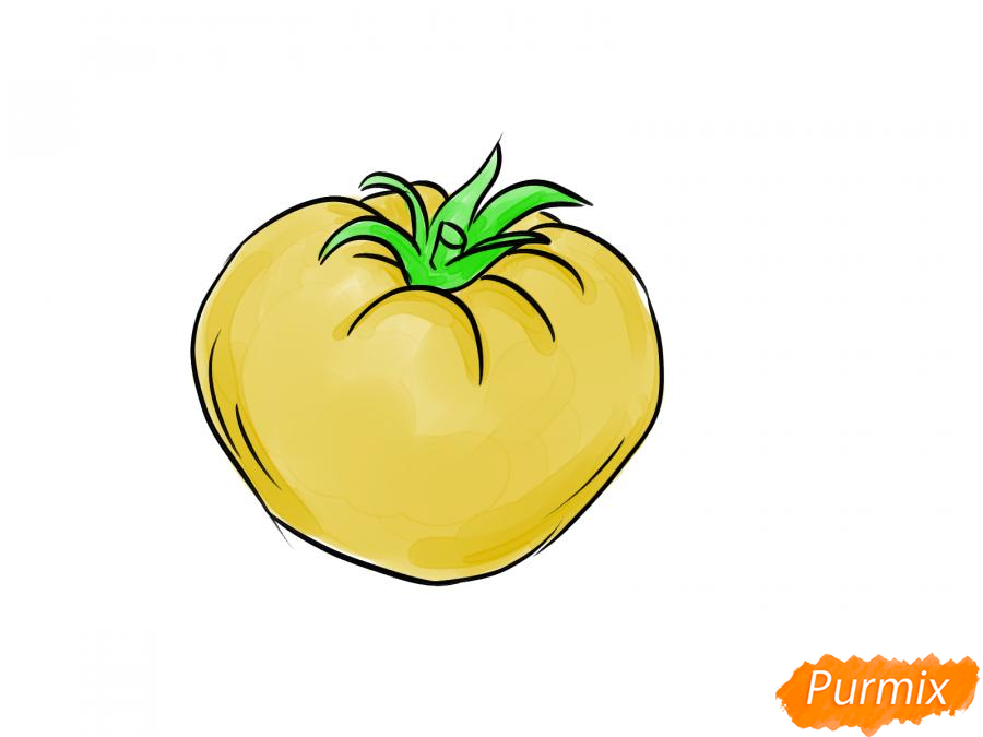 Рисуем желтый помидор - шаг 6
