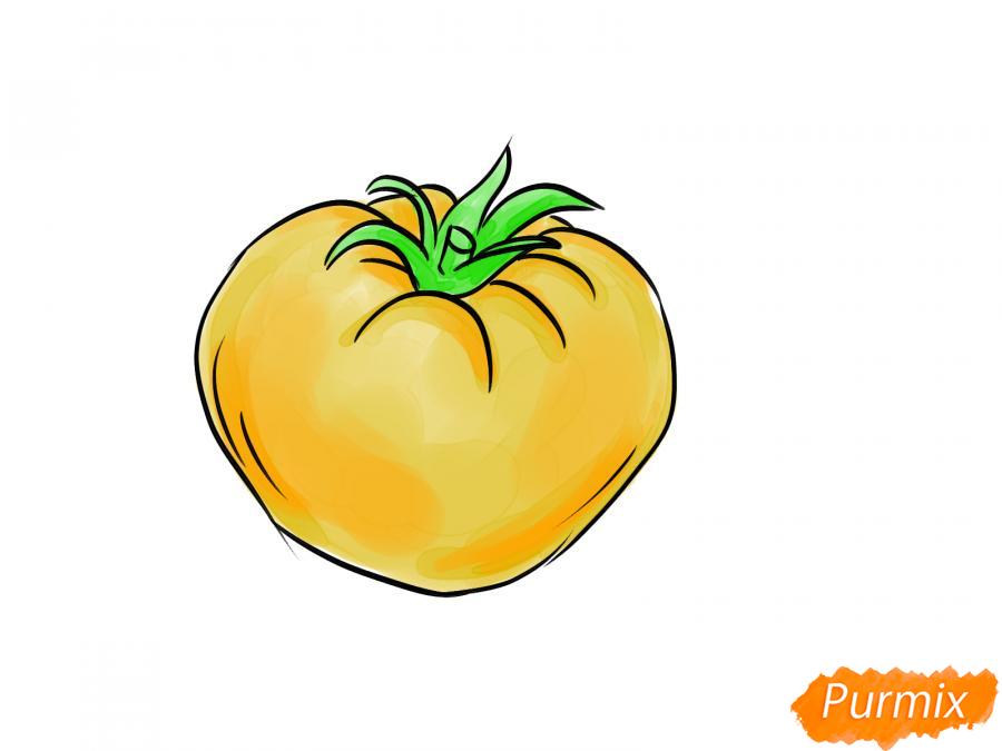 Рисуем желтый помидор - шаг 7