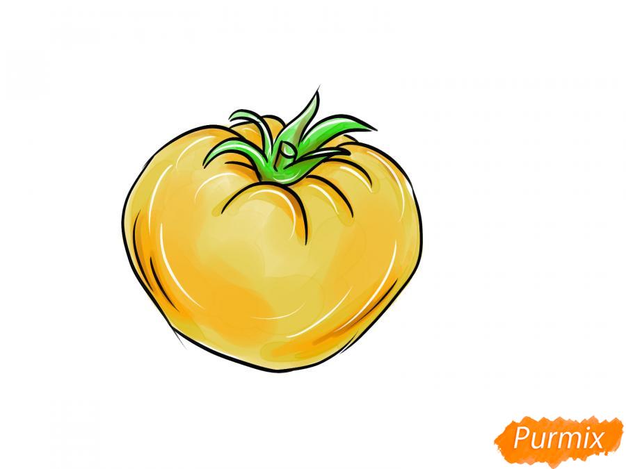 Рисуем желтый помидор - шаг 8