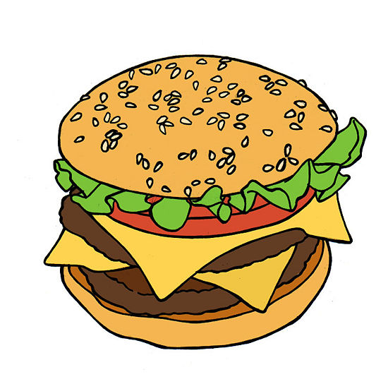 Как легко и просто нарисовать гамбургер - шаг 6