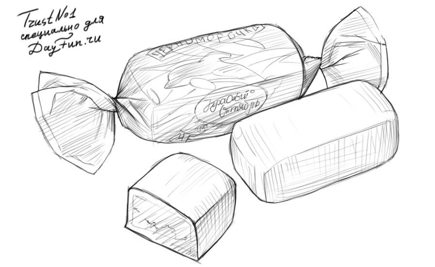 Как рисовать конфеты - шаг 5