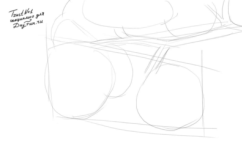 Рисуем веточку малины - шаг 2
