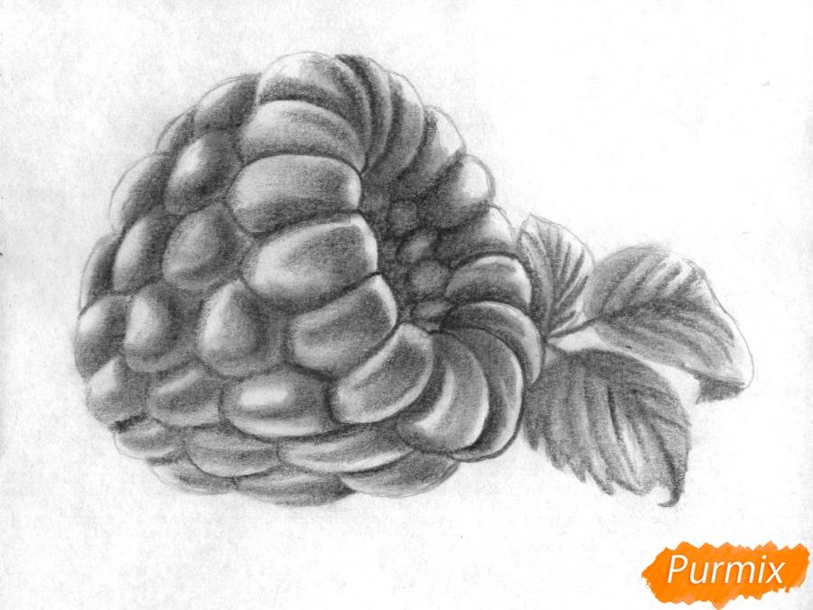 Рисуем малину карандашами - шаг 3