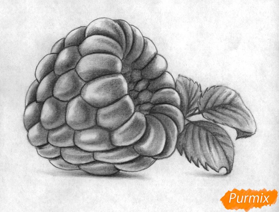 Рисуем малину карандашами - шаг 5