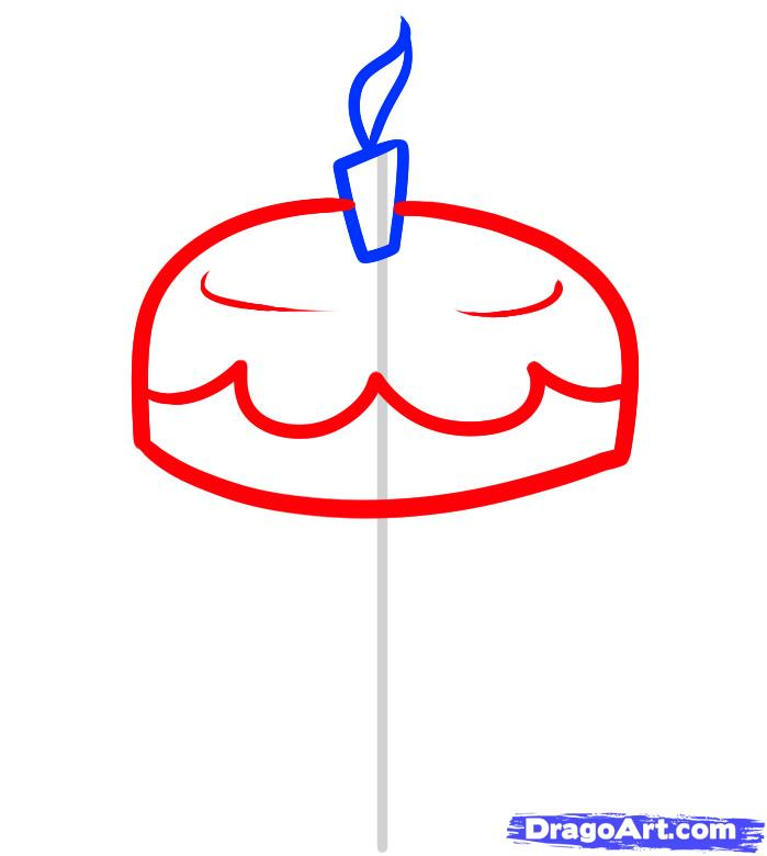 Рисуем праздничный торт - шаг 3