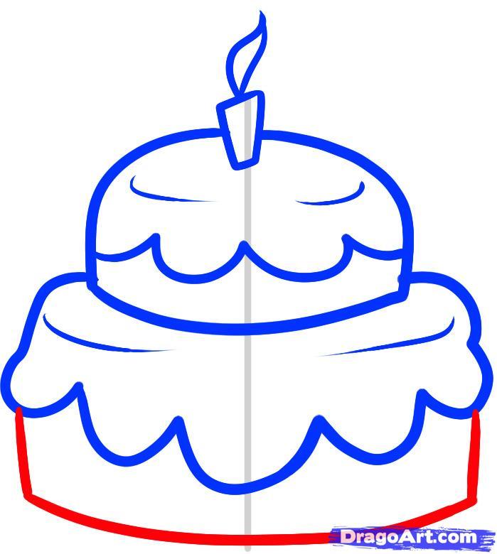 Рисуем праздничный торт - шаг 5