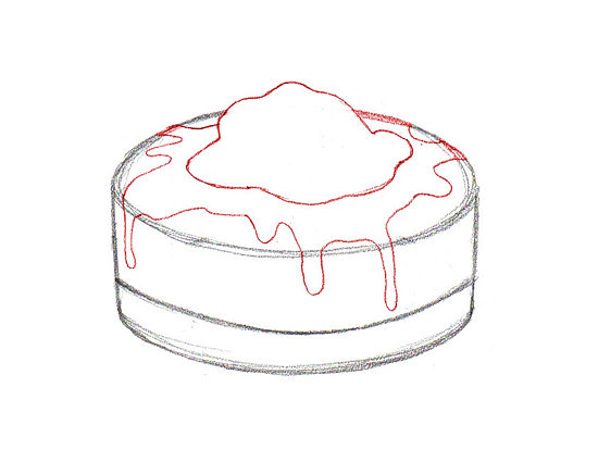 Рисуем Торт карандашами - шаг 4