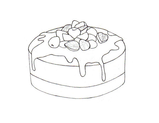 Рисуем Торт карандашами - шаг 5