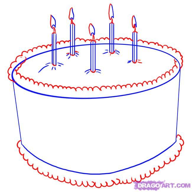 Рисуем торт ко дню рождения - шаг 3