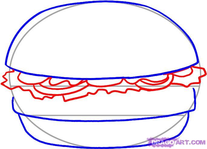Рисуем Гамбургер - шаг 3