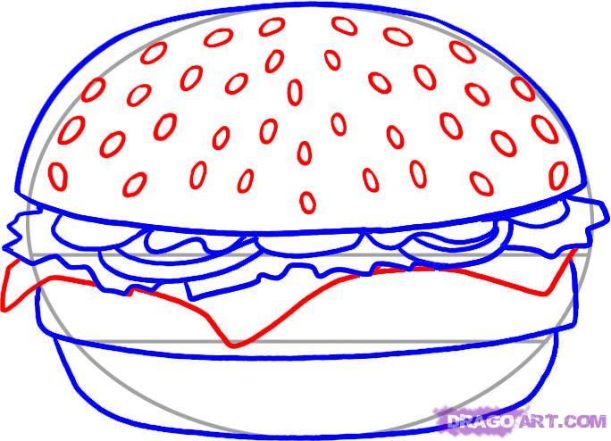 Рисуем Гамбургер - шаг 4