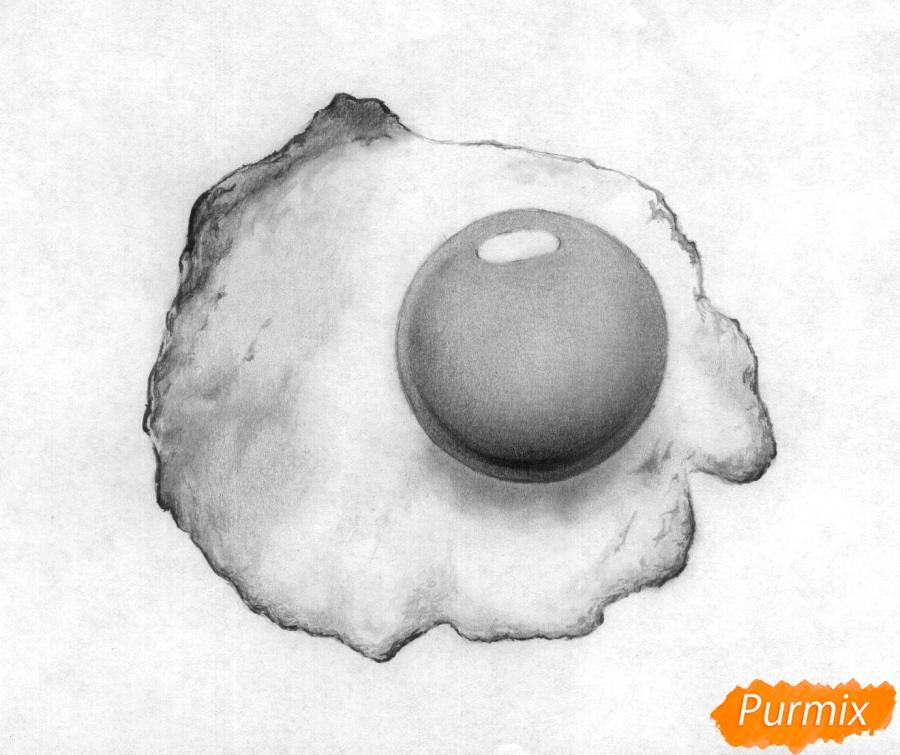 Рисуем яичницу карандашами - шаг 4