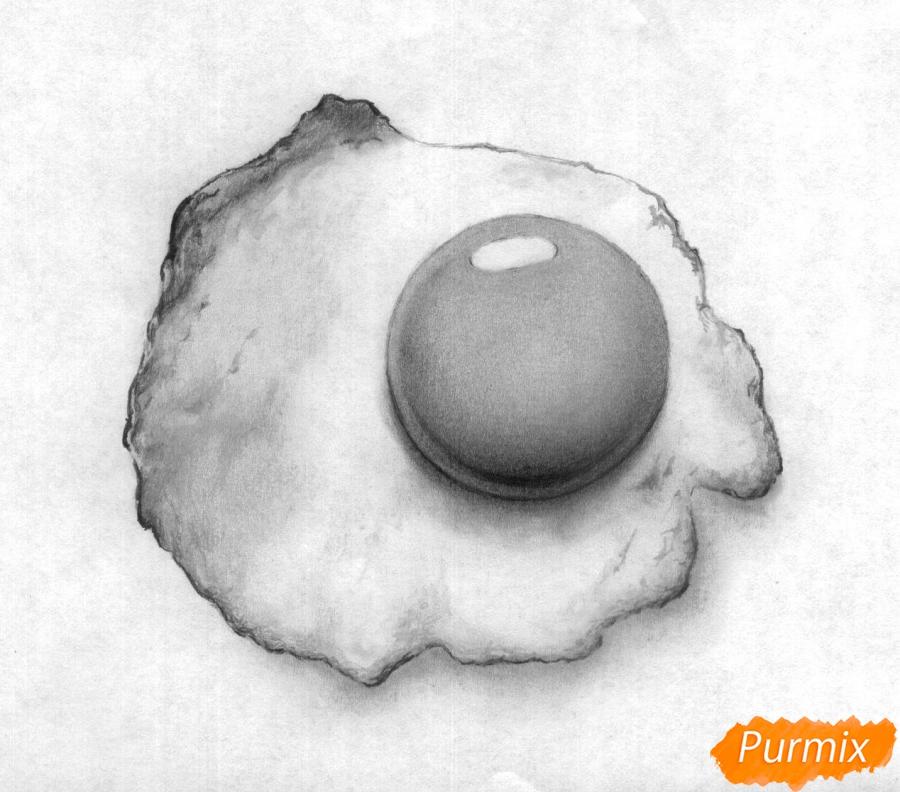 Рисуем яичницу карандашами - шаг 5