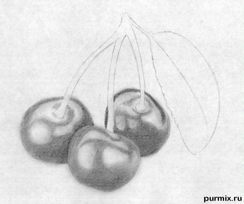 Рисуем вишни карандашами - шаг 5