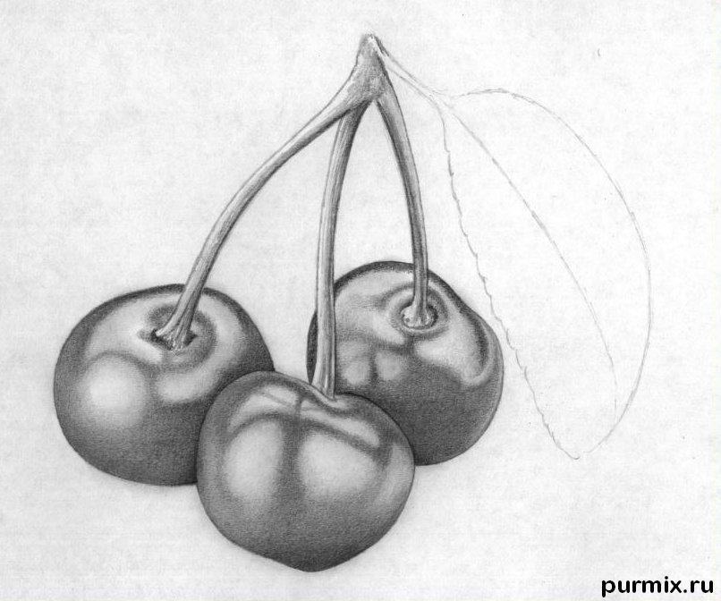 Рисуем вишни карандашами - шаг 7